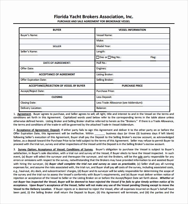 Boat Purchase Agreement Template Best Of Sample Boat Purchase Agreement 10 Free Documents