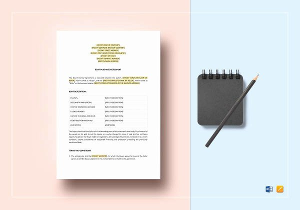 Boat Purchase Agreement Template Lovely Sample Boat Purchase Agreement 10 Free Documents