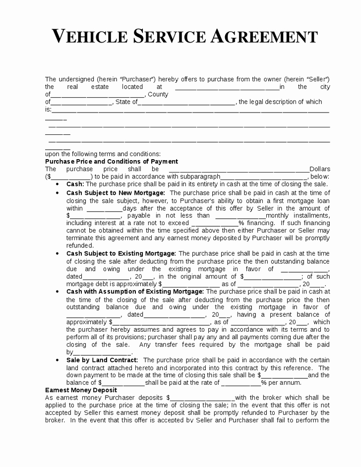 Boat Purchase Agreement Template New Vehicle Service Agreement Template Hashdoc Service