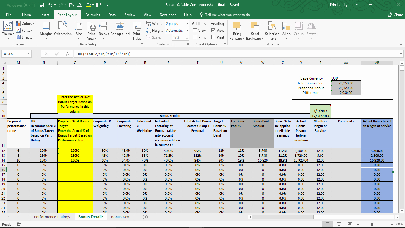 Bonus Plan Template Excel Unique Variable Pensation Plan Template
