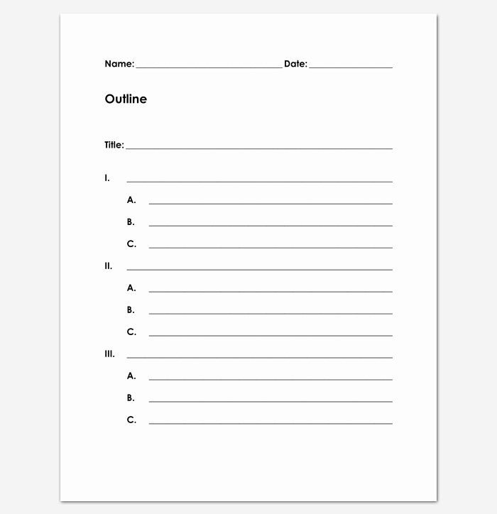 Book Outline Template Microsoft Word Fresh Blank Outline Template 11 Examples and formats for