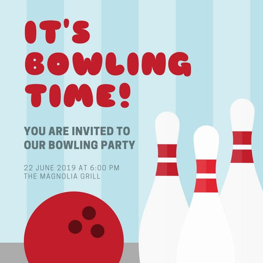 Bowling Party Invitation Template Elegant Blue Stripes Bowling Party Invitation Templates by Canva