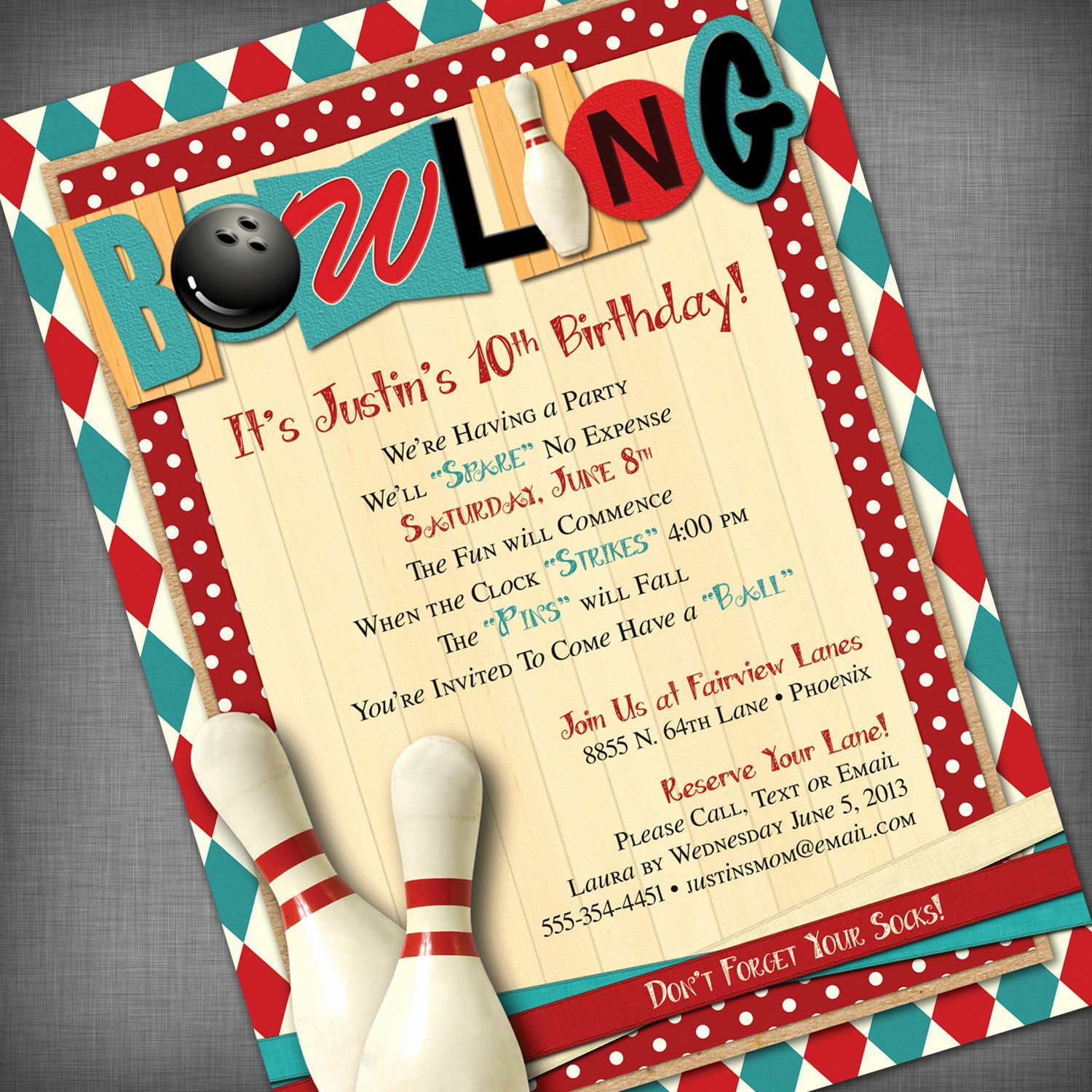 Bowling Party Invitation Template Fresh Bowling Party Customized Printable Invitation