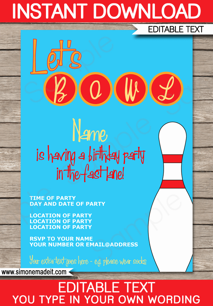 Bowling Party Invitation Template Fresh Bowling Party Invitations Template