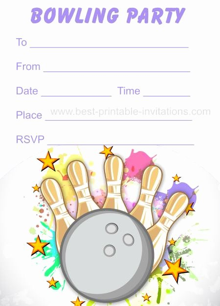 Bowling Party Invitation Template Fresh Free Printable Bowling Invitations