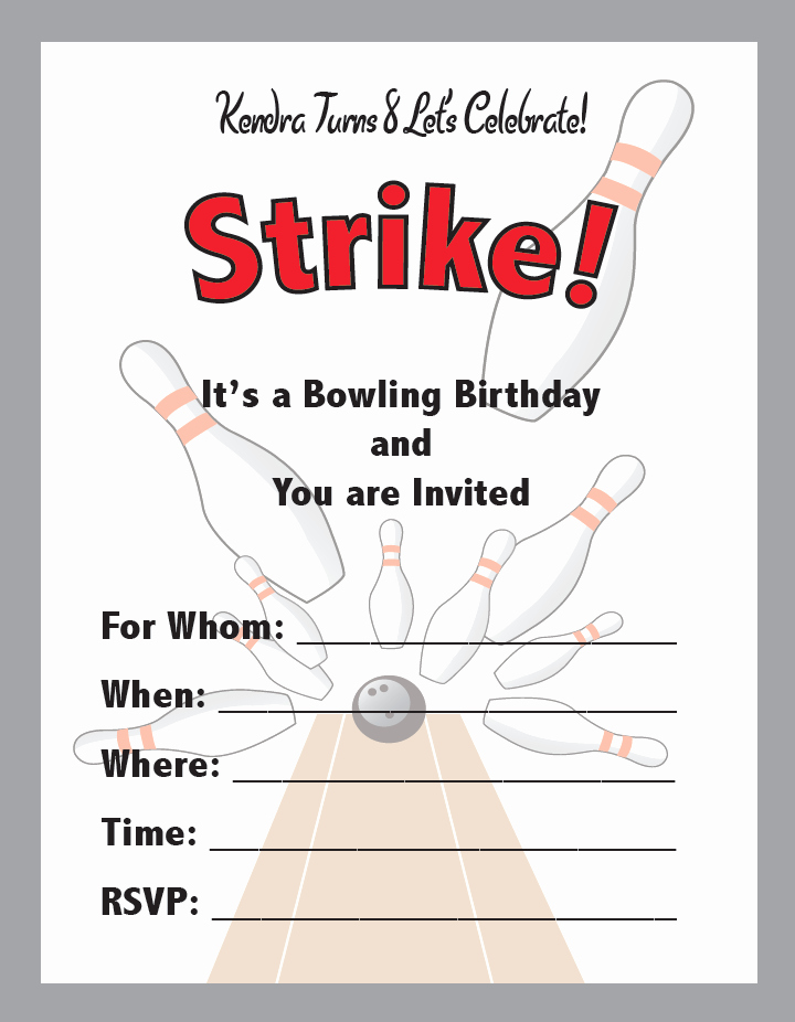 Bowling Party Invitation Template Lovely Bowling Birthday Party Invites – Smh Illustration & Design