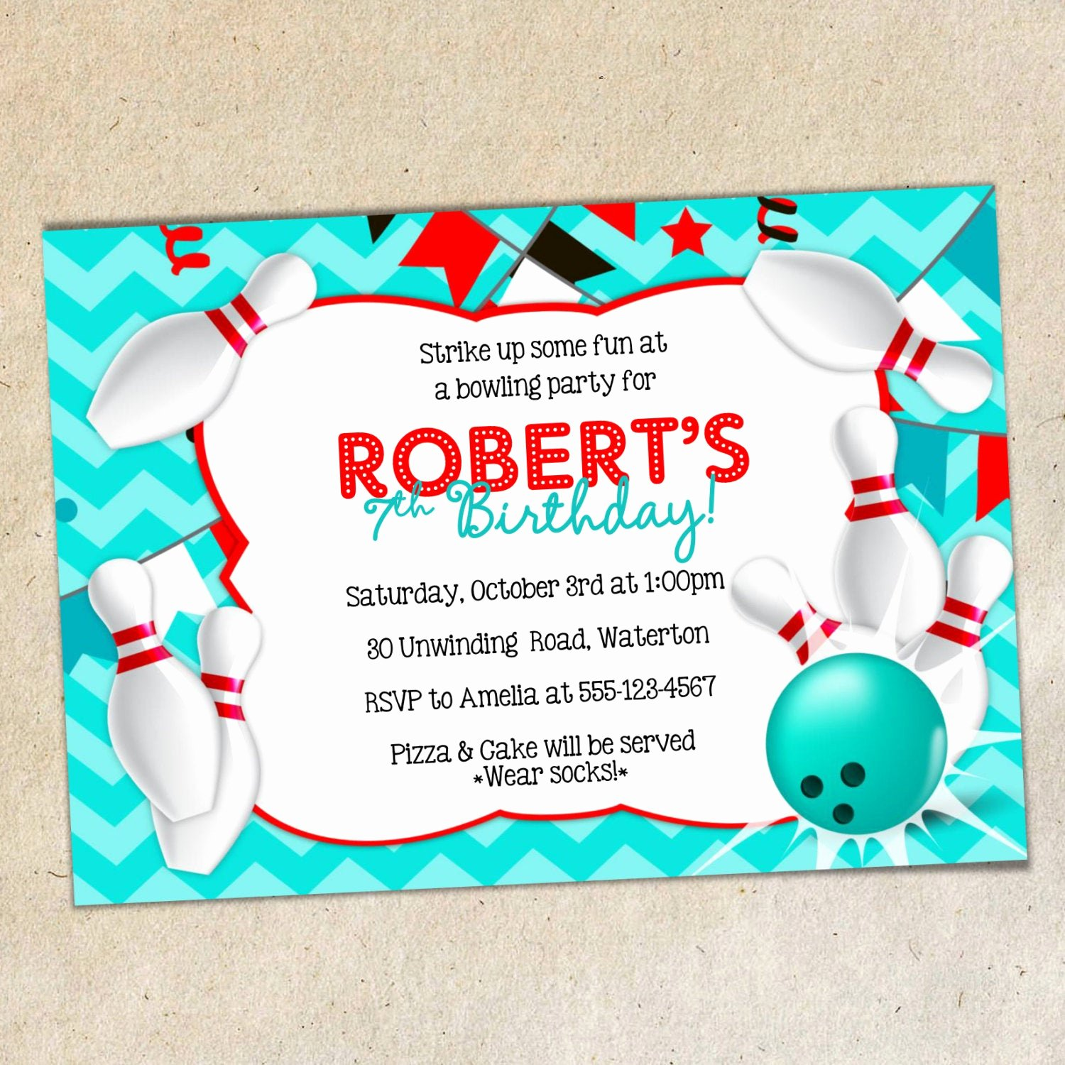 Bowling Party Invitation Template Luxury Bowling Party Invitation Template Chevron Background