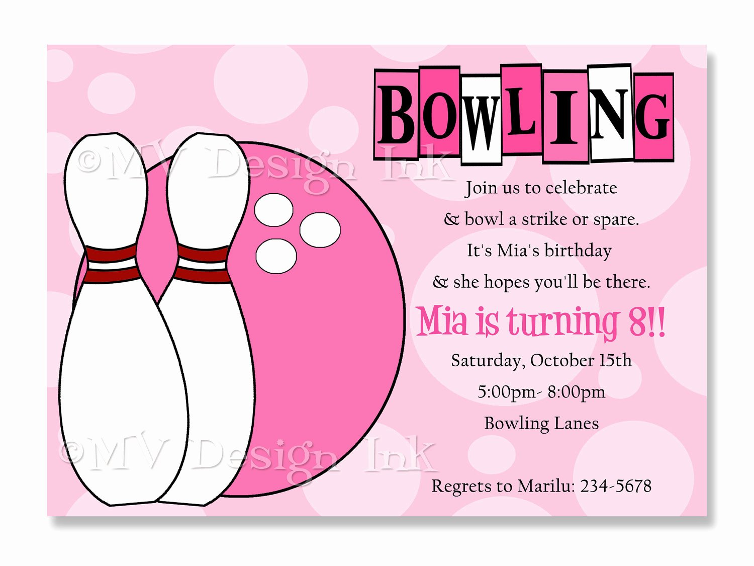 Bowling Party Invitation Template Luxury Girl Bowling Party Invitations Bowling Birthday Invitation