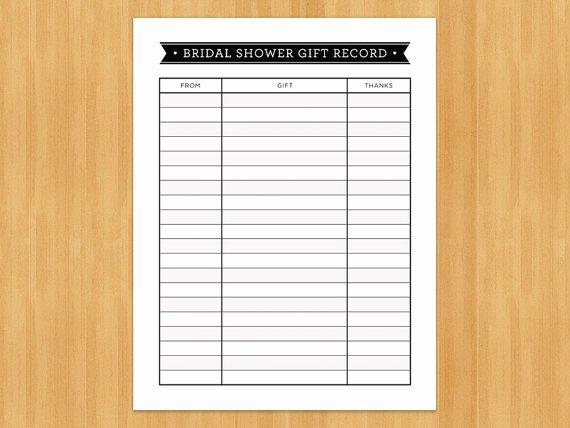 Bridal Shower Checklist Template Beautiful Printable Bridal Shower Gift Record List List Of Gifts