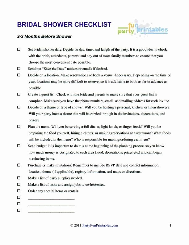 Bridal Shower Checklist Template Best Of Bridal Shower to Do List Template