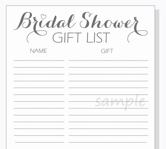 Bridal Shower Checklist Template Best Of Diy Bridal Shower Gift List Printable Calligraphy Script