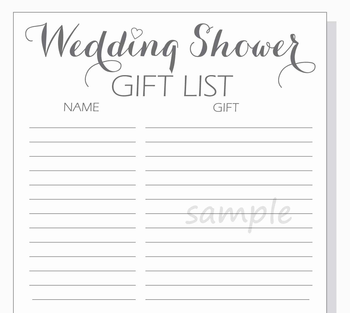 Bridal Shower Checklist Template Inspirational Diy Wedding Shower Gift List Printable Calligraphy Script