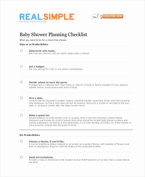 Bridal Shower Checklist Template Lovely Baby Shower Planning