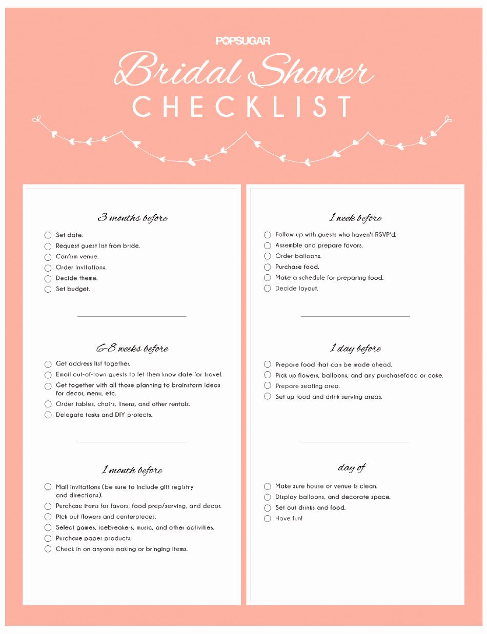 Bridal Shower Checklist Template Lovely Bridal Shower Checklist Printable Pdf