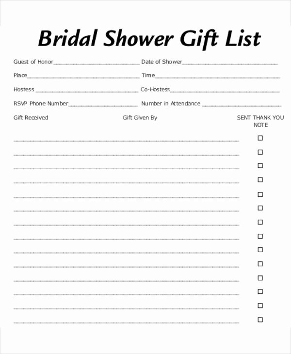 Bridal Shower Checklist Template Lovely Bridal Shower Gift List Templates 5 Free Word Pdf