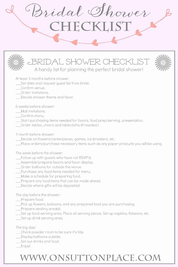 Bridal Shower Checklist Template Lovely Handy Printable Checklist to Help Plan the Perfect Bridal