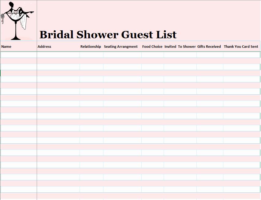 Bridal Shower Checklist Template Luxury 15 Free Bridal Shower Guest List Templates Ms Fice