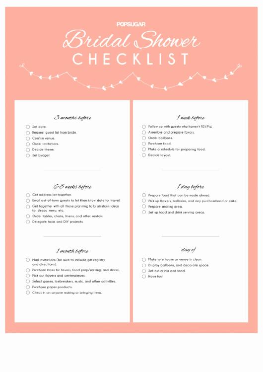 Bridal Shower Checklist Template Luxury Bridal Shower Checklist Printable Pdf