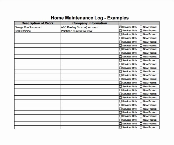 Building Maintenance Log Template Beautiful Sample Maintenance Log Template 9 Free Documents In Pdf