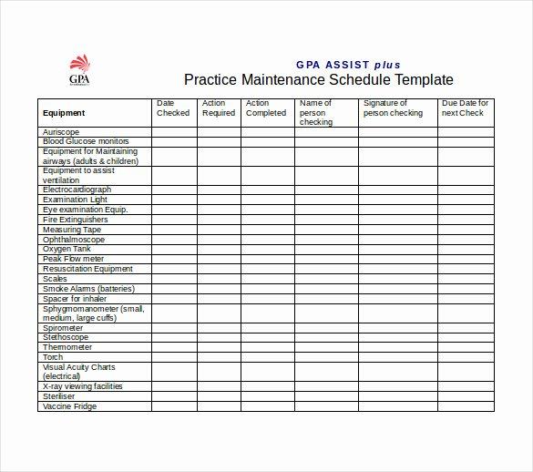 Building Maintenance Log Template Elegant Plant Maintenance Schedule Template Excel