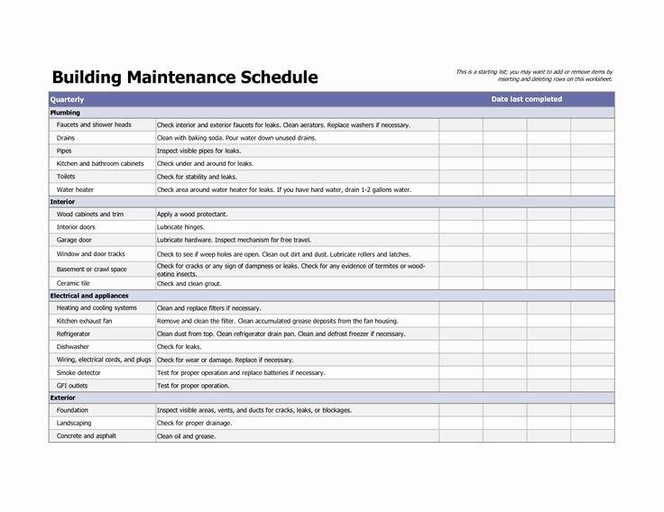 Building Maintenance Log Template Fresh Building Maintenance Schedule Excel Template