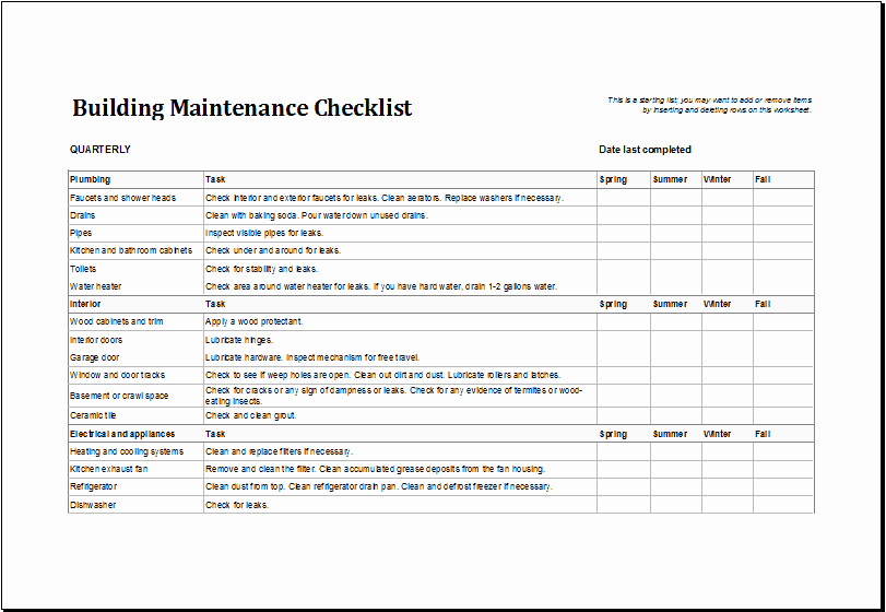 Building Maintenance Log Template Lovely 7 Facility Maintenance Checklist Templates Excel Templates