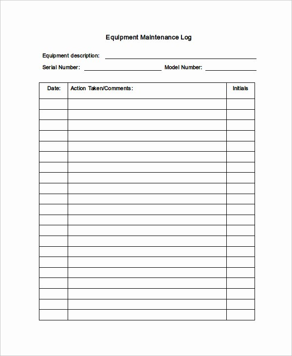 Building Maintenance Log Template Lovely Equipment Maintenance Log Template Excel