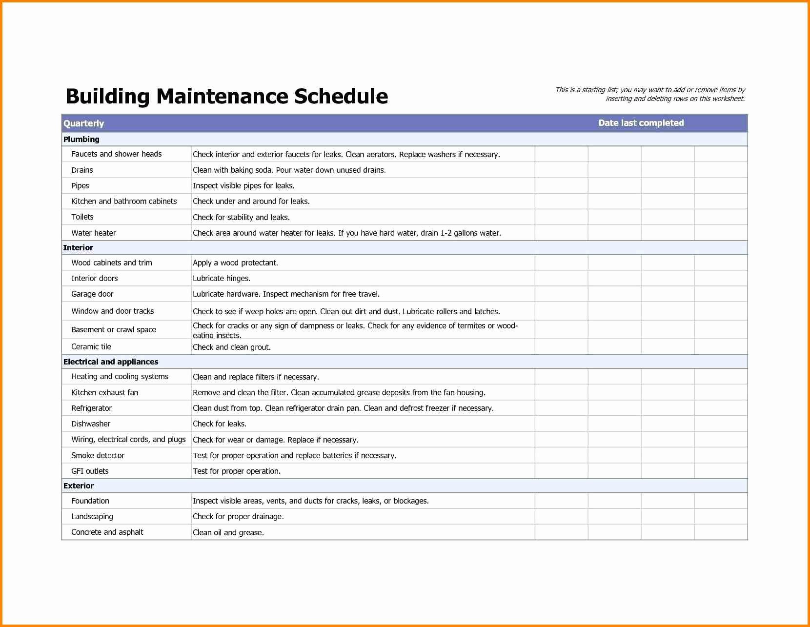 Building Maintenance Log Template New Building Maintenance Checklists – Emmamcintyrephotography