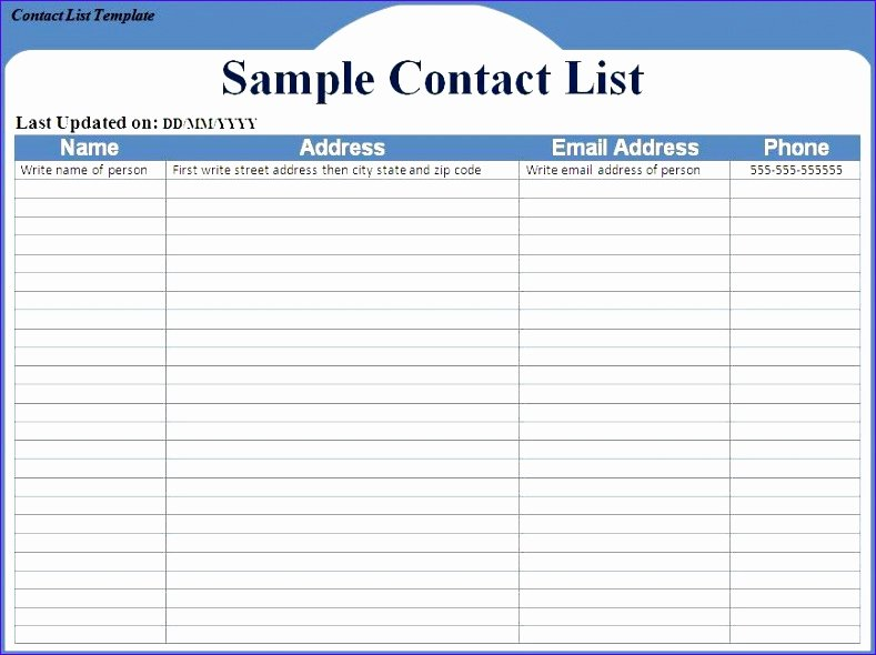 Business Contact List Template Elegant 12 Excel Address List Template Exceltemplates