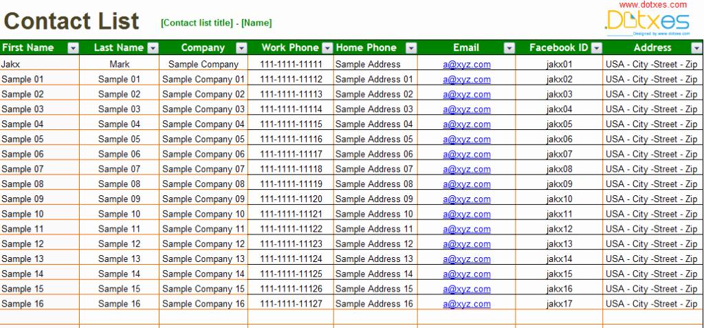 Business Contact List Template Elegant Basic Contact List Template Dotxes