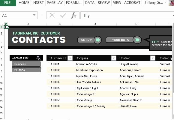 Business Contact List Template Elegant Customer Contact List Template for Excel
