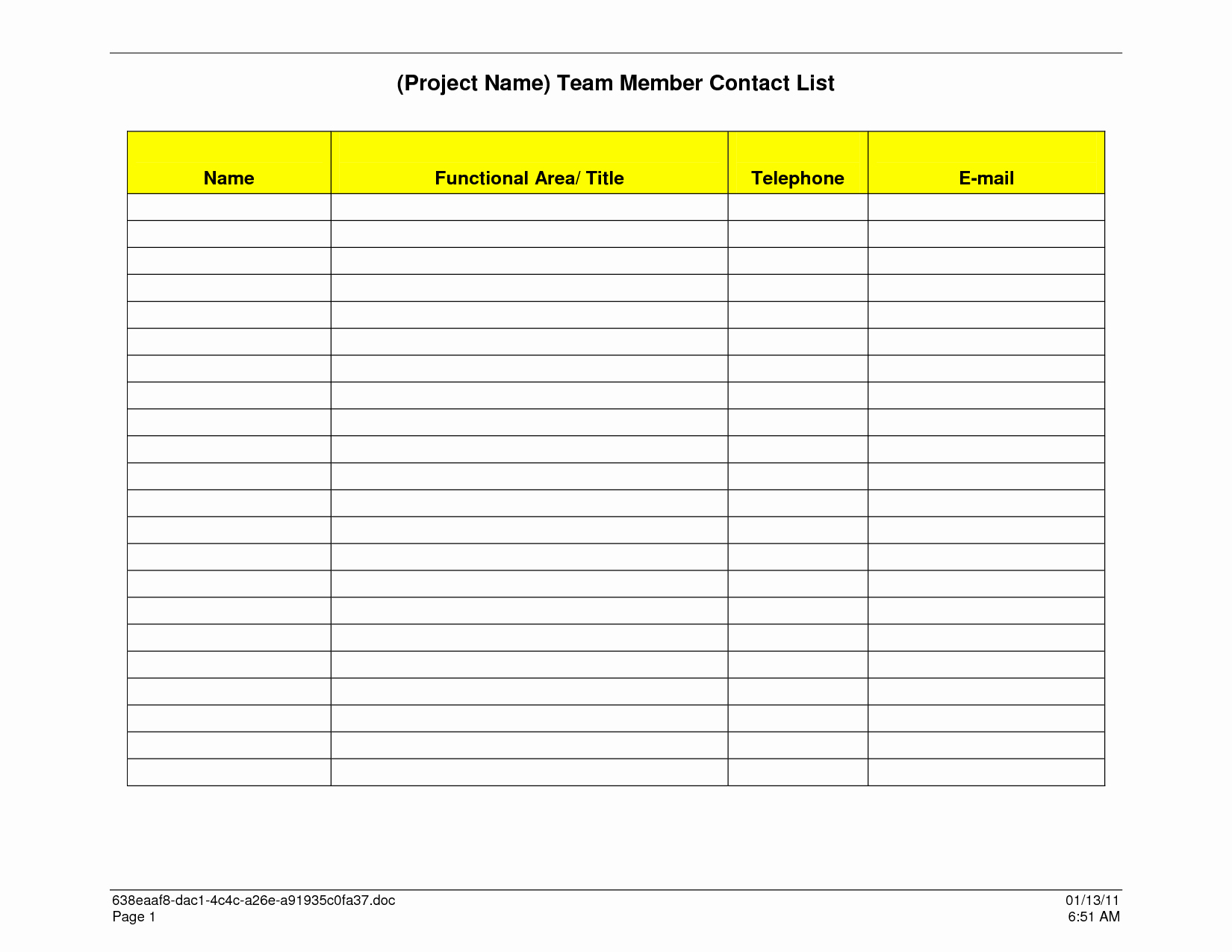 Business Contact List Template Luxury Sample Contact List Template