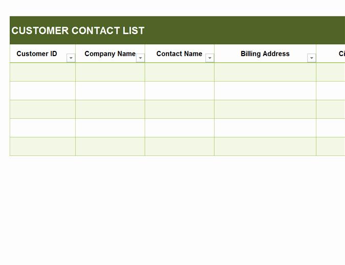 Business Contact List Template New Basic Customer Contact List