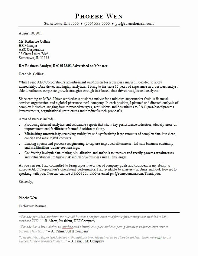 Business Cover Letter Template Awesome Business Analyst Cover Letter Sample
