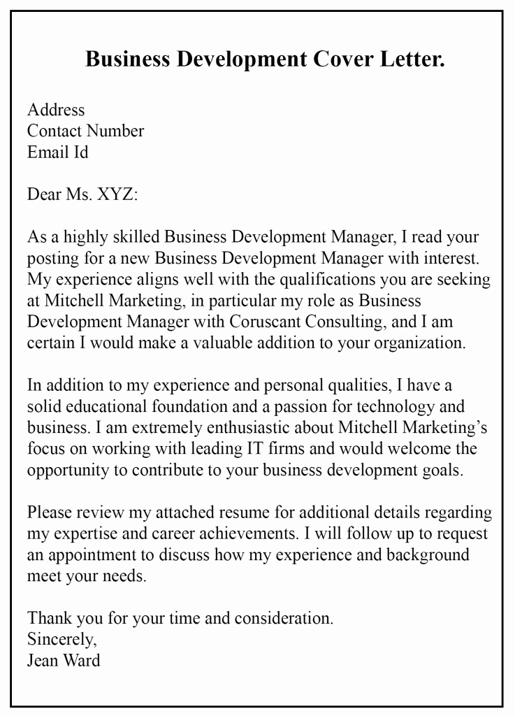 Business Cover Letter Template Best Of Free Sample Business Development Cover Letter Templates