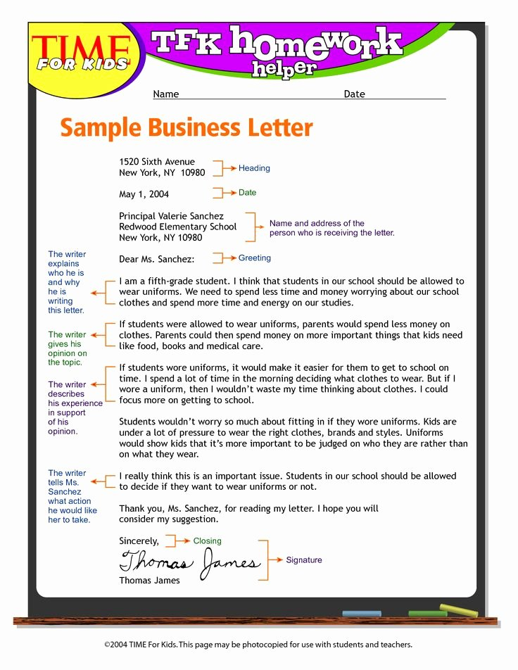 Business Cover Letter Template Fresh Exandle Business Letter format for Kids Write Business
