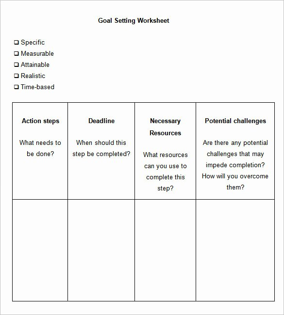 Business Goal Setting Template Beautiful 8 Goal Setting Worksheet Templates Free Word Pdf