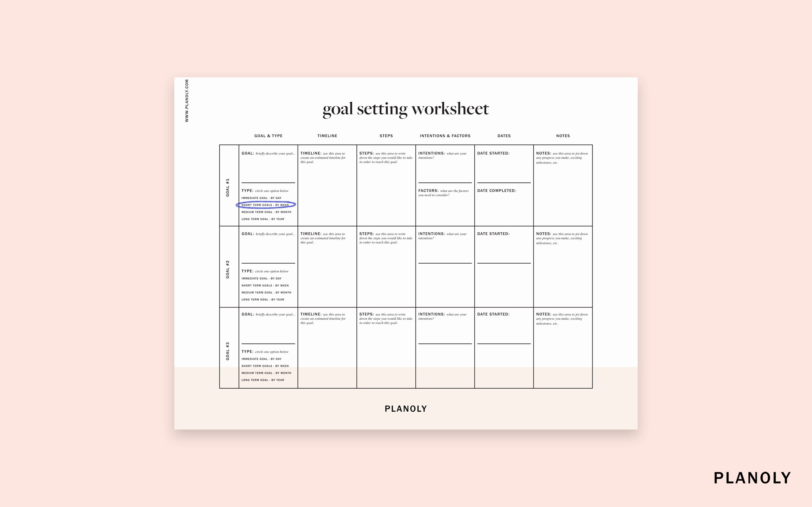 Business Goal Setting Template Beautiful Planoly S Influencer Goal Setting Worksheet Planoly