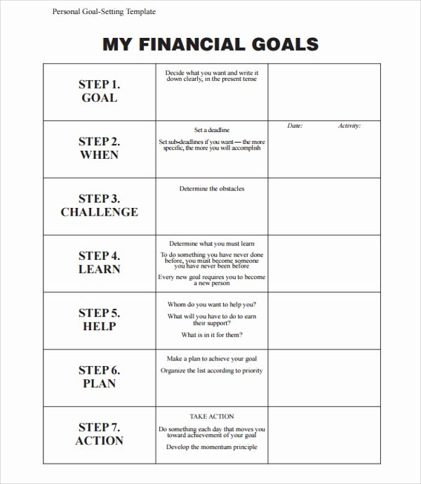 Business Goal Setting Template Lovely Sample Goal Planning Template 9 Free Documents In Pdf Word