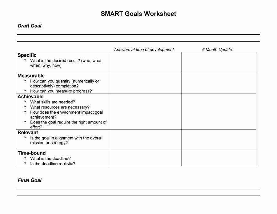 Business Goal Setting Template New Smart Goal Template