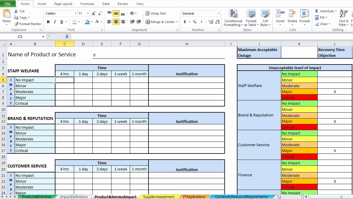 Business Impact Analysis Template Excel Awesome Business Impact Analysis Template Excel Excel Tmp