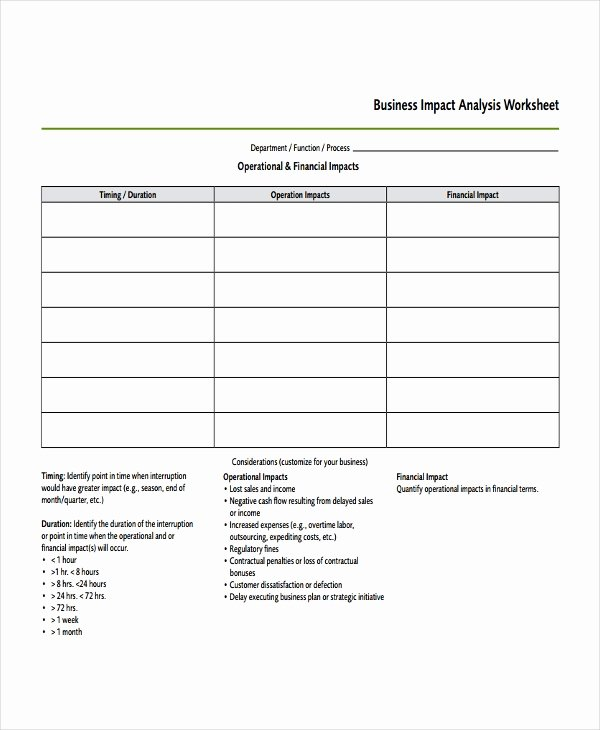 Business Impact Analysis Template Excel Awesome Impact Analysis Template 11 Free Word Pdf Documents