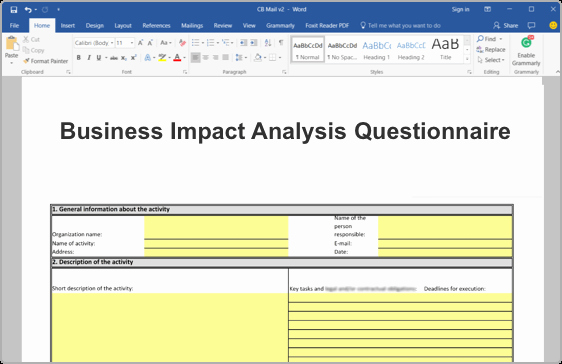 Business Impact Analysis Template Excel Elegant iso Business Impact Analysis Bia toolkit