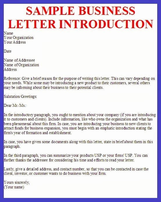 Business Introduction Letter Template Awesome Business Letter Sample Business Letter Introduction