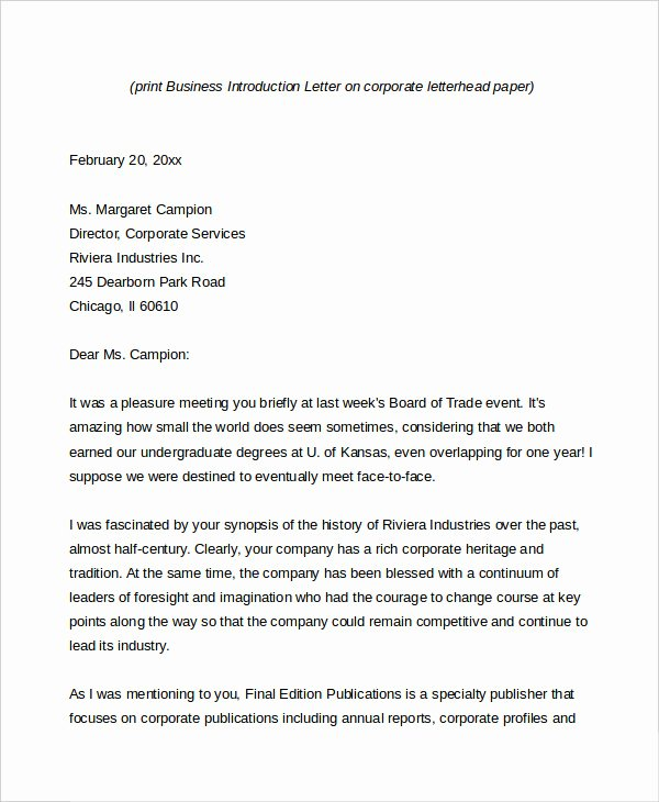 Business Introduction Letter Template Best Of Business Letter 13 Free Word Pdf Documents Download