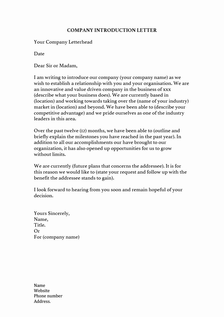 Business Introduction Letter Template Inspirational 34 Free Business Introduction Letters Pdf & Ms Word