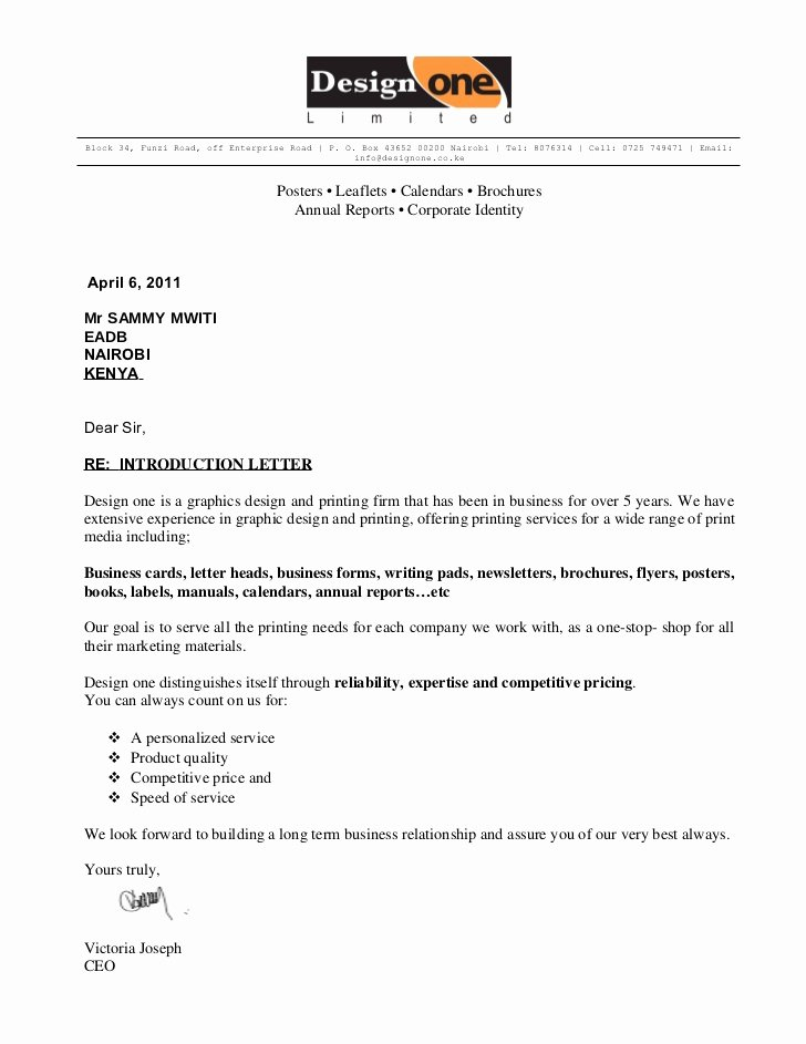 Business Introduction Letter Template Inspirational Design One Intro Letter
