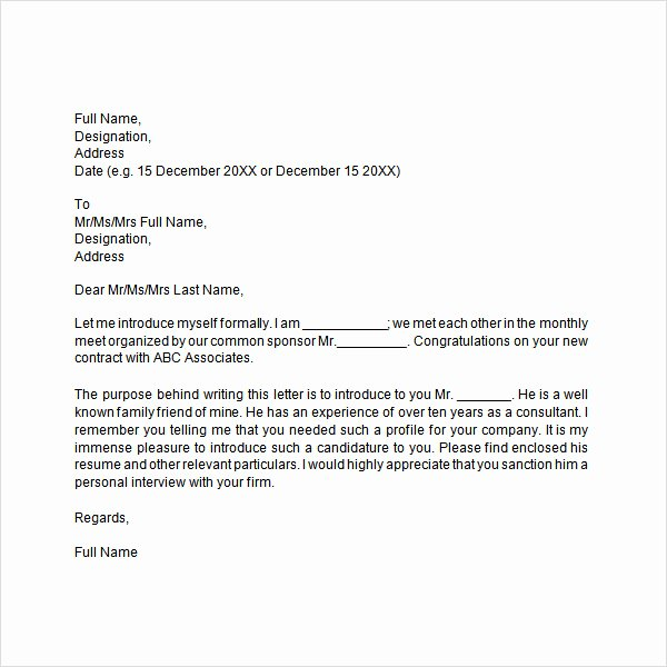 Business Introduction Letter Template Inspirational Free 33 Sample Introduction Letters In Doc