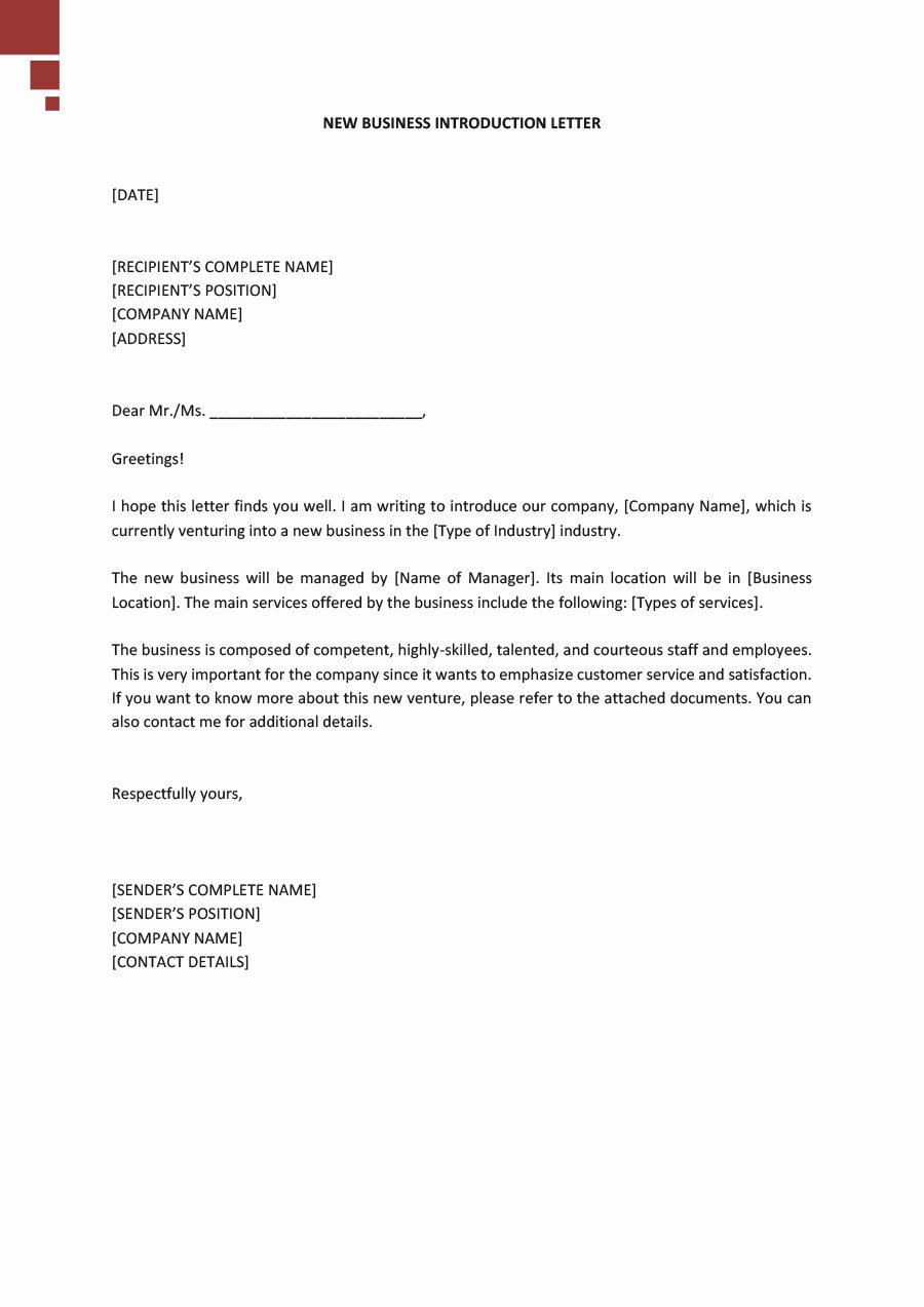 Business Introduction Letter Template Lovely 34 Free Business Introduction Letters Pdf & Ms Word