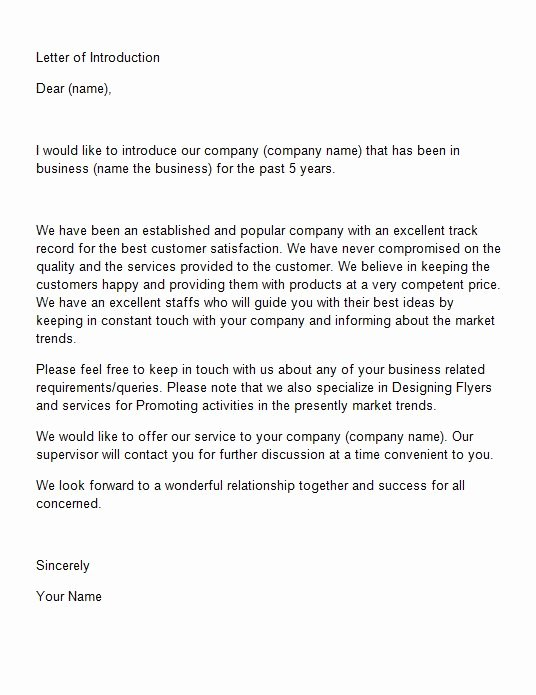 Business Introduction Letter Template Lovely 40 Letter Of Introduction Templates & Examples